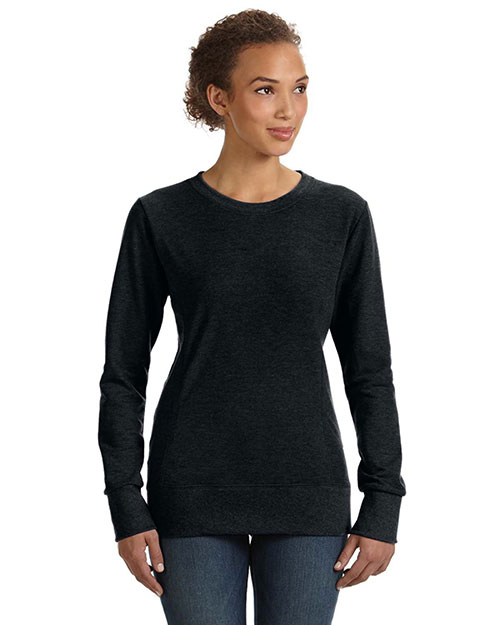 Anvil 72000L Women Ringspun French Terry Mid-Scoop Sweatshirt Black at bigntallapparel