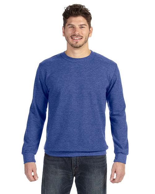 Anvil 72000 Men Ringspun French Terry Crewneck Sweatshirt Heather Blue at bigntallapparel