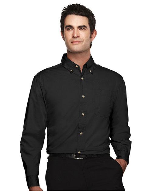 Tri-Mountain 720 Men Easy Care Long Sleeve Twill Dress Shirt Black at bigntallapparel