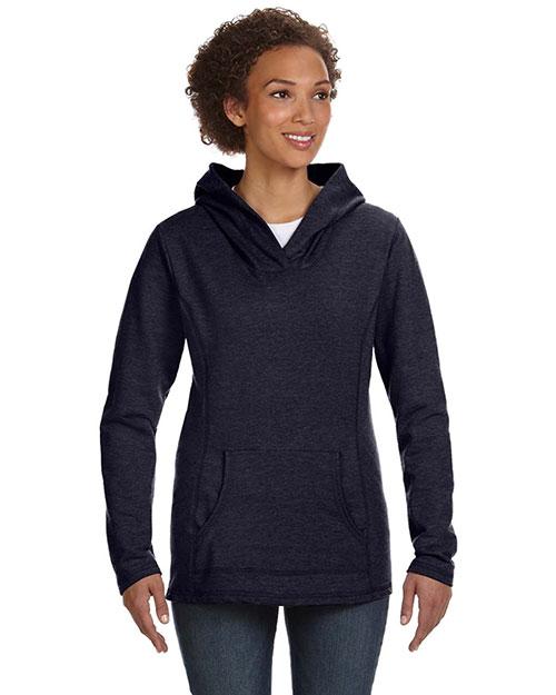 Anvil 72500L Women Ringspun French Terry Crossneck Hooded Sweatshirt Navy at bigntallapparel