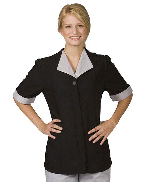 Edwards 7276 Women Spun Polyester Tunic Black at bigntallapparel
