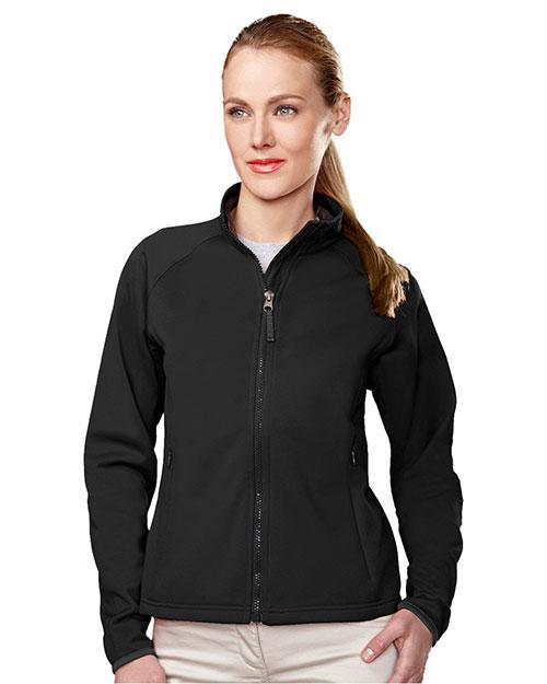 Tri-Mountain 7320 Women Polyknit Fleece Full Zip Jacket Black/Charcoal at bigntallapparel