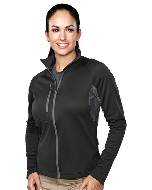 Tri-Mountain 7357 Women 100% Polyester Micro Fleece Long Sleeve Jacket Black/Charcoal at bigntallapparel