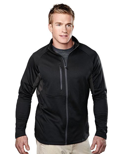 Tri-Mountain 7359 Men 100% Polyester Fleece Long Sleeve Jacket Black/Charcoal at bigntallapparel