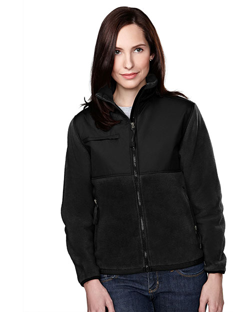 Tri-Mountain 7420 Women Panda Fleece Jacket With Nylon Paneling Black/Black at bigntallapparel