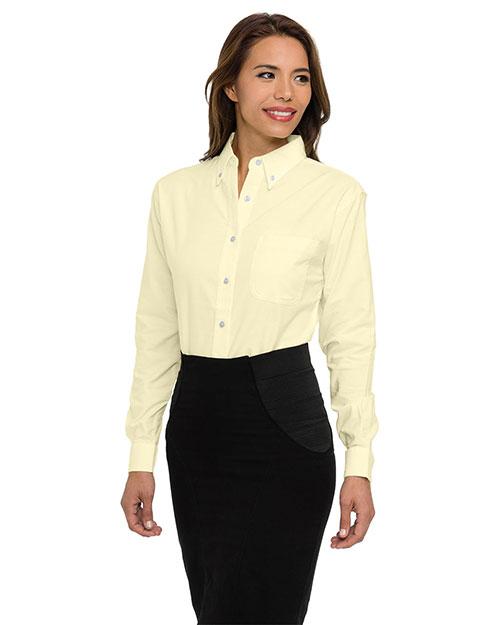 Tri-Mountain 742 Women 60/40 Stain Resistant Long Sleeve Oxford Shirt Butter at bigntallapparel