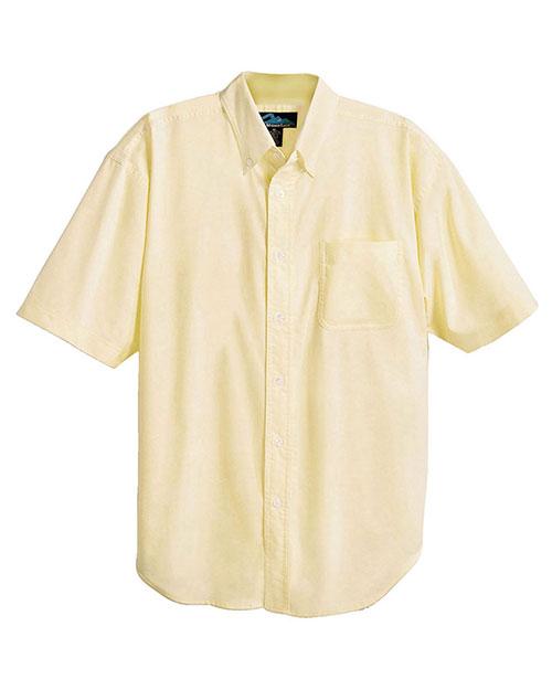 Tri-Mountain 748 Men Stain Resistant Short Sleeve Oxford Dress Shirt Butter at bigntallapparel