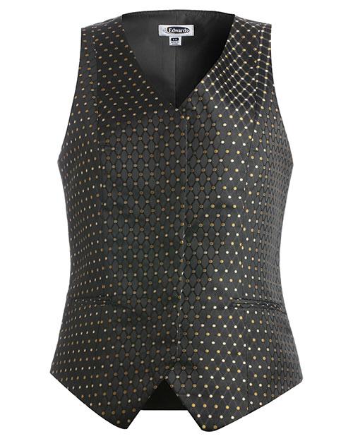 Edwards 7497 Women Fly Front Diamonds And Dots Vest Black at bigntallapparel