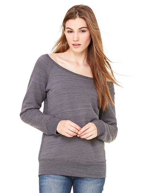 Bella 7501 Women Sponge Fleece Wide Neck Sweatshirt Dk Gry Marb Flc at bigntallapparel