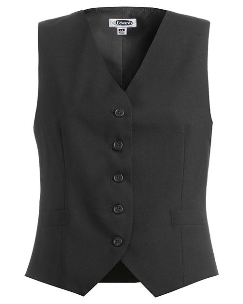 Edwards 7680 Women High Button Vest Black at bigntallapparel