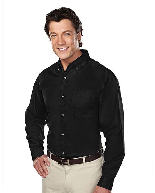 Tri-Mountain 770 Men Stain Resistant Long Sleeve Twill Dress Shirt Black at bigntallapparel