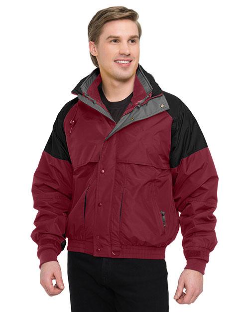 Tri-Mountain 7800 Men Big And Tall Nylon 3-In-1 Jacket Maroon/Black/Charcoal at bigntallapparel