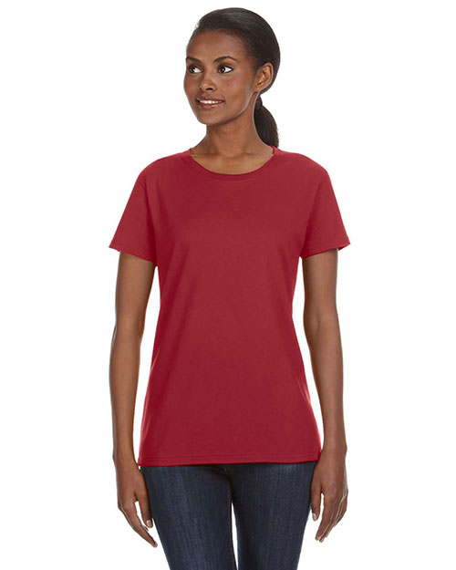 Anvil 780L Women Ringspun Midweight Mid-Scoop T-Shirt Independence Red at bigntallapparel