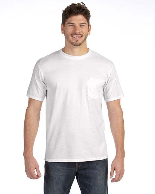 Anvil 783AN Men  Heavyweight Ringspun Pocket T-Shirt White at bigntallapparel