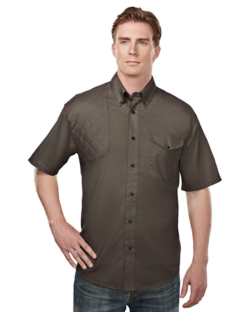 Tri-Mountain 785 Men Cotton/Poly 60/40 Ss Woven Shooting Shirt Brown at bigntallapparel