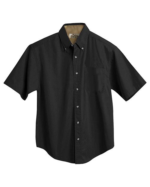 Tri-Mountain 788 Men Big And Tall Short Sleeve Peached Twill Dress Shirt Black/Camel at bigntallapparel