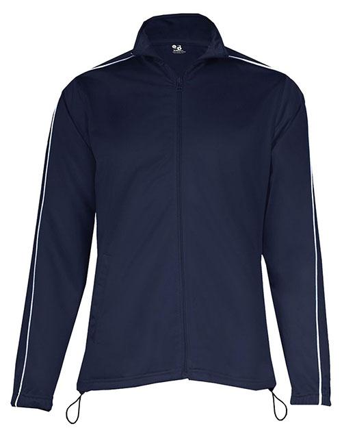 Badger 7901 Women 100% Polyester Razor Full Zipper Jacket Navy/ White at bigntallapparel