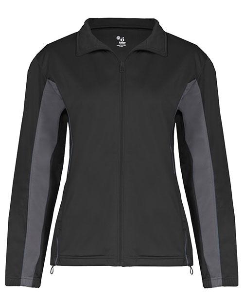 Badger 7903 Women Drive 100% Brushed Tricot Polyester Jacket Black/ Graphite at bigntallapparel