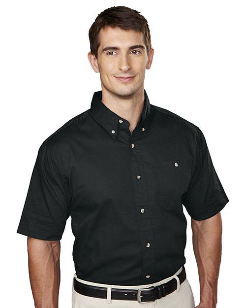 Tri-Mountain 808 Men Cotton Short Sleeve Twill Shirt Black at bigntallapparel