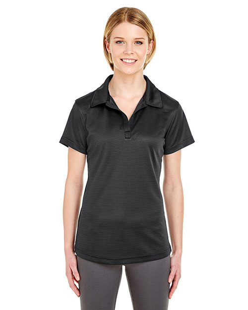 Ultraclub 8220L Women Cool & Dry Jacquard Stripe Polo Black at bigntallapparel