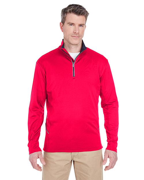 Ultraclub 8230 Men Cool & Dry Sport 1/4zip Pullover Red at bigntallapparel