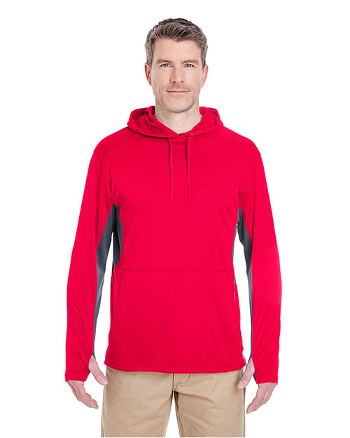 Ultraclub 8231BND Men Cool & Dry Sport Hooded Pullover Red/ Charcoal at bigntallapparel