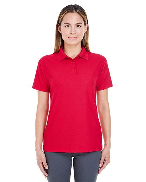 Ultraclub 8240L Women Cool & Dry Pebbleknit Polo Red at bigntallapparel
