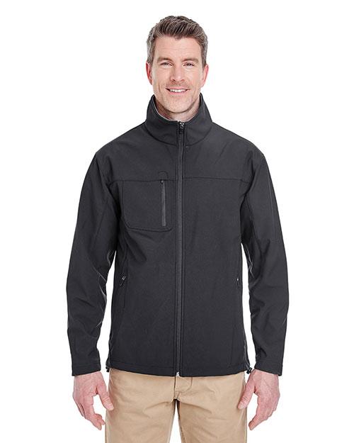 Ultraclub 8280 Men Soft Shell Jacket With Cadet Collar Black at bigntallapparel