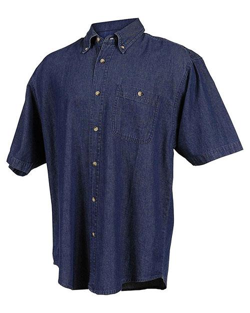 Tri-Mountain 828 Men Denim Short Sleeve Shirt Dark Indigo at bigntallapparel