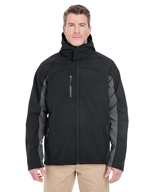 Ultraclub 8290 Men Color Block 3in1 Systems Hooded Soft Shell Jacket Black/ Charcoal at bigntallapparel