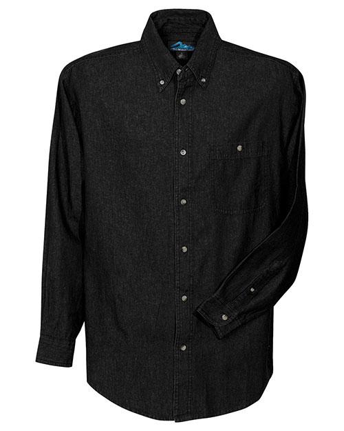 Tri-Mountain 829 Men Denim Long Sleeve Shirt Black at bigntallapparel