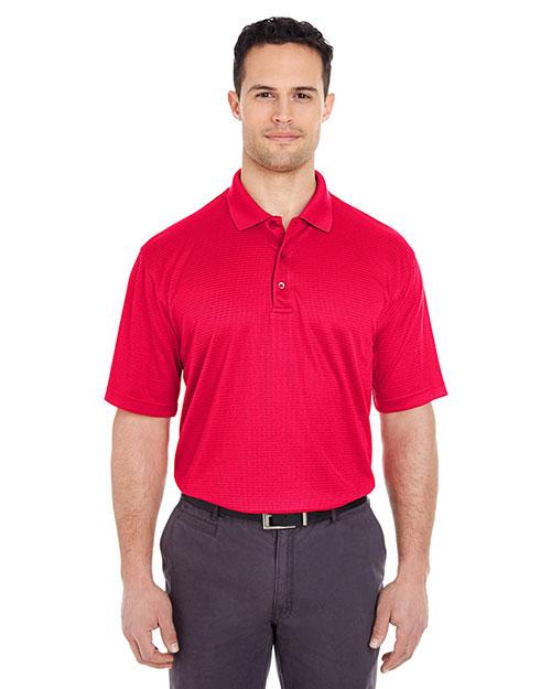 Ultraclub 8305 Men Cool & Dry Elite Minicheck Jacquard Polo Red at bigntallapparel