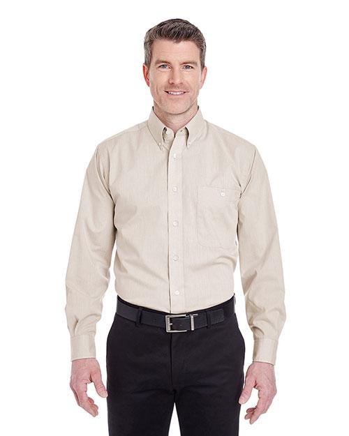 Ultraclub 8340 Men Wrinklefree Endonend Shirt Khaki at bigntallapparel