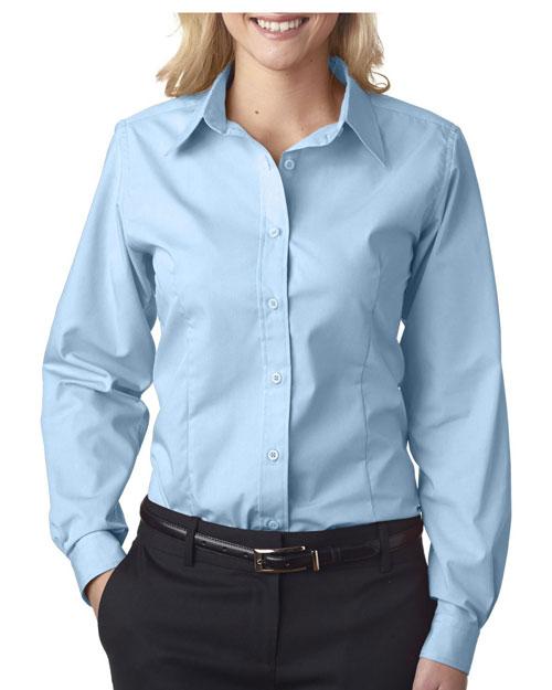Ultraclub 8355L Women Easycare Broadcloth Light Blue at bigntallapparel