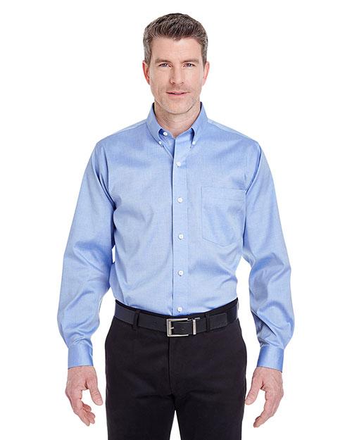 Ultraclub 8380 Men Noniron Pinpoint Shirt blue at bigntallapparel