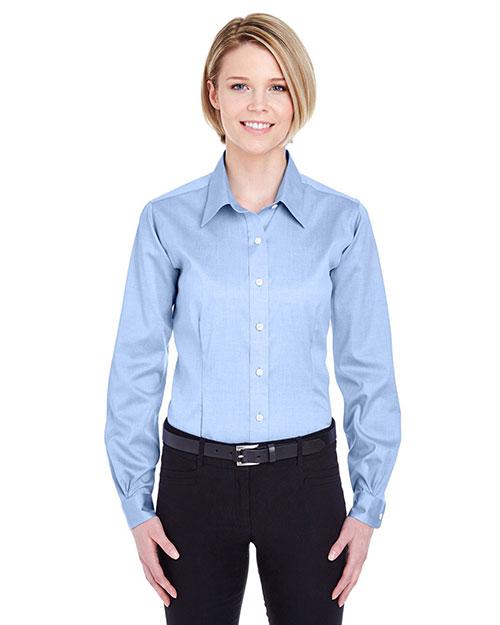 Ultraclub 8381 Women Noniron Pinpoint Shirt blue at bigntallapparel