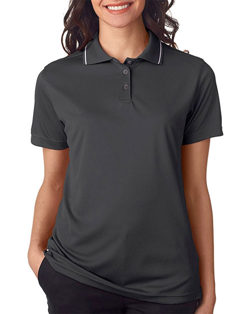 Ultraclub 8394L Women Polo With Tipped Collar Charcoal/ White at bigntallapparel