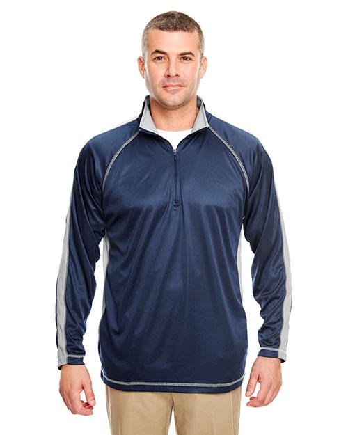 Ultraclub 8398 Men 100% Polyester 1/4 Zip Navy/ Grey at bigntallapparel