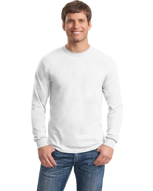 Gildan 8400 Men Ultra Blend 50/50 Cotton/Poly Long Sleeve T Shirt White at bigntallapparel