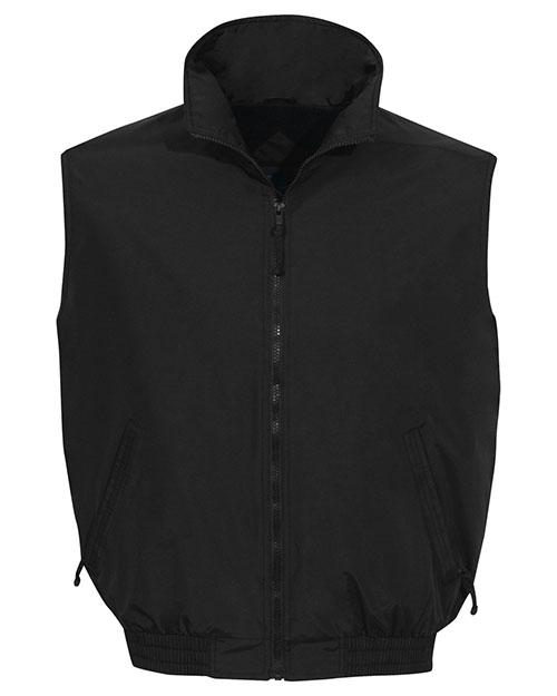 Tri-Mountain 8400 Men Big And Tall   Nylon Vest With Fleece Lining Black at bigntallapparel