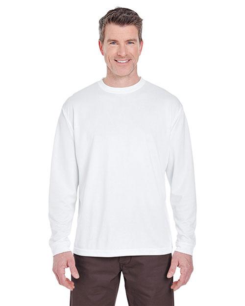 Ultraclub 8401 Men Long Sleeve Performance T-Shirt White at bigntallapparel
