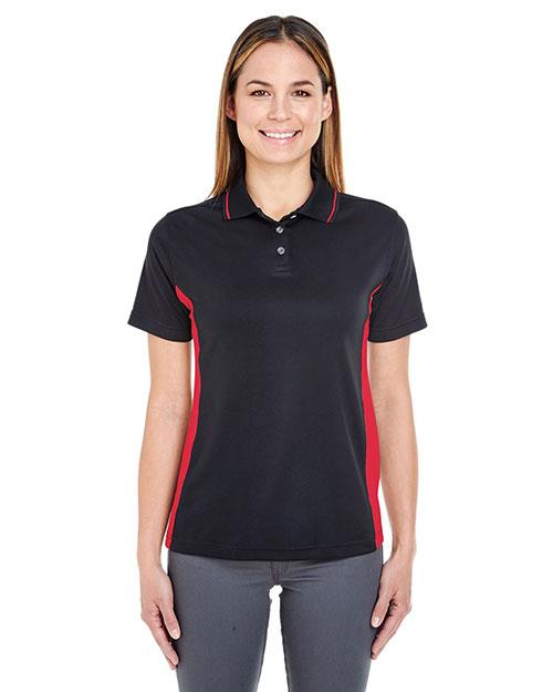 Ultraclub 8406L Women Cool & Dry Sport Twotone Polo Black/ Red at bigntallapparel