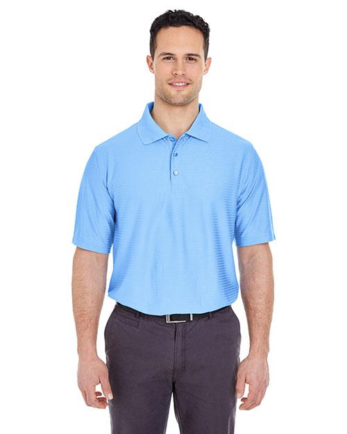 Ultraclub 8413 Men Perf Horizontal Stripe Carolina Blue at bigntallapparel