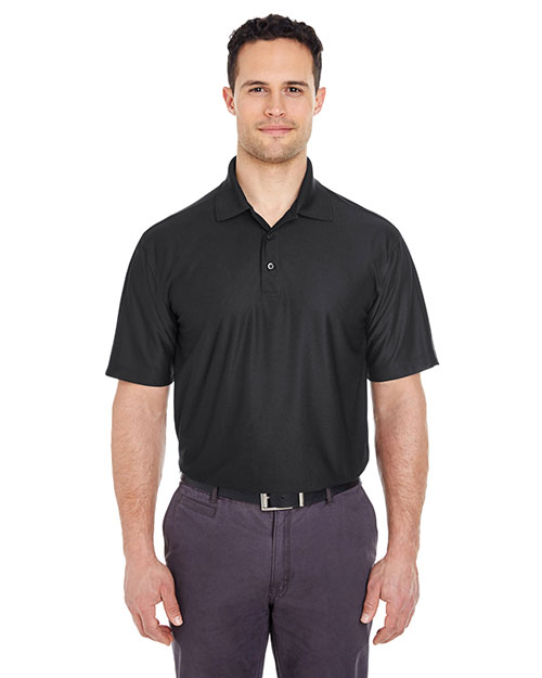 Ultraclub 8415T Men Tall Cool & Dry Elite Performance Polo Black at bigntallapparel
