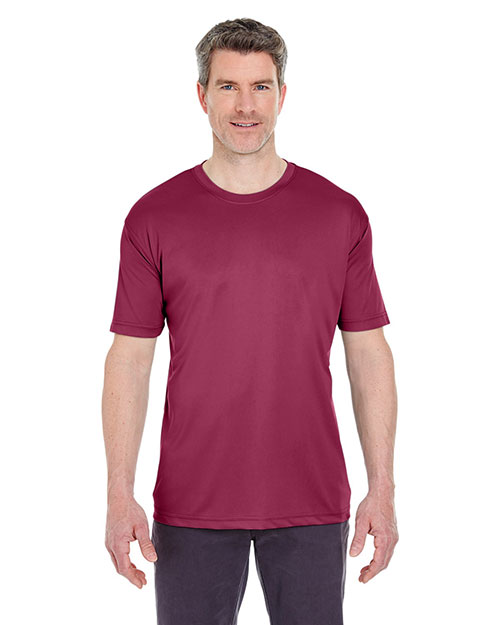 Ultraclub 8420 Men Cool & Dry Sport Performance Interlock Tee Maroon at bigntallapparel