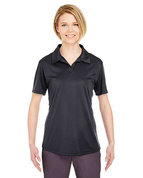 Ultraclub 8425L Women Cool & Dry Sport Snagresistant Performance Interlock Polo Black at bigntallapparel