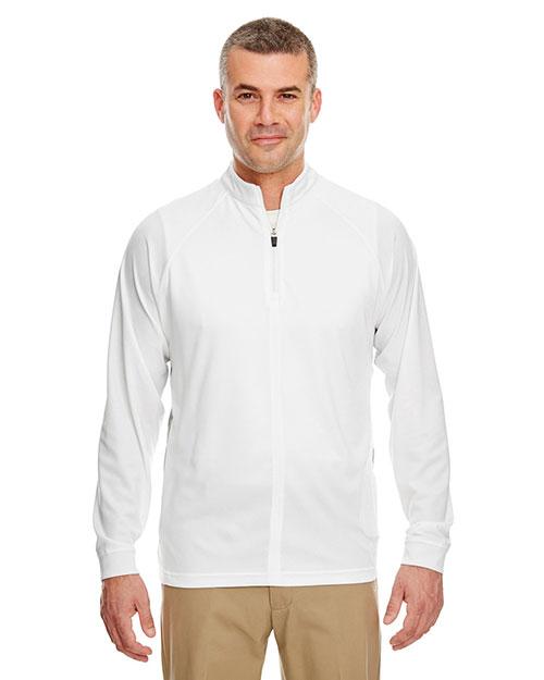Ultraclub 8432 Men Cool & Dry Long Sleeve 1/4 Zip White/ Grey at bigntallapparel