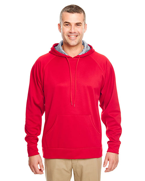 Ultraclub 8441 Men Poly Fleece Hood Red at bigntallapparel