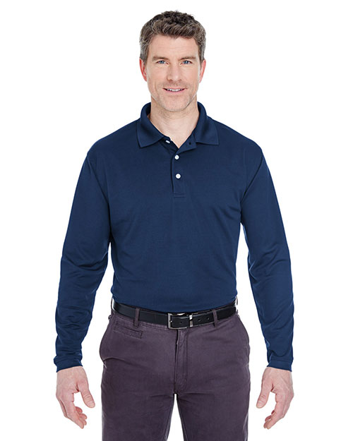 Ultraclub 8445LS Men Cool & Dry Longsleeve Stainrelease Performance Polo Navy at bigntallapparel