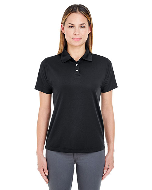 Ultraclub 8445L Women Cool & Dry Stainrelease Performance Polo Black at bigntallapparel